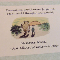 Never Forget Me Winnie the Pooh Quote Nursery Print by prettypetalspaper