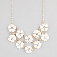 Full Tilt 2 Row Flower Statement Necklace Ivory One Size For Women 23230516001