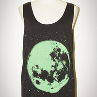 The Moon Green Opaque Screen Black Tank Top Singlet by pleiadeshop