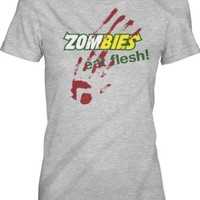 Women's Zombies Eat Flesh T Shirt Funny Parody Shirt Zombie Tee for Women