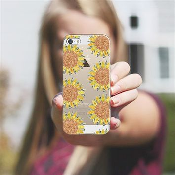 sunflower polka transparent iPhone 5s case by Sharon Turner | Casetagram