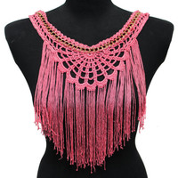 Pink Collar Applique with Tassels for Fashion Projects Craft Supplies