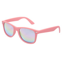 Bright Rubberized Mirrored Wayfarer Sunglasses | Wet Seal