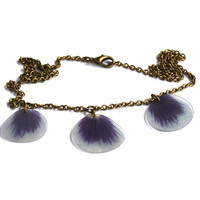 Real Blue Pansy Necklace Three Real Flower Petals by AhoyAhimsa