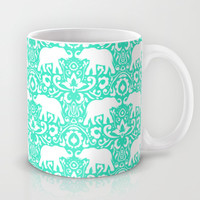 Elephant Damask Mint Mug by Jacqueline Maldonado | Society6