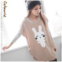 Korean Style Casual Lovely Rabbit Printing T-shirt Beans Pink-Wholesale Women Fashion From Icanfashion.com