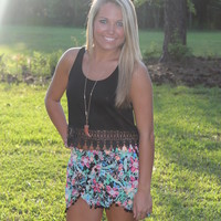Bangles Boutique — BRIGHT MULTI PRINT SHORTS W/POM POM TRIM