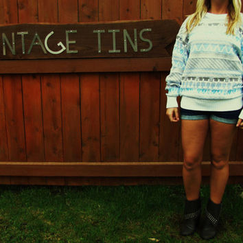 vintage oversized slouchy hipster sweater. cosby sweater. turquoise aztec sweater