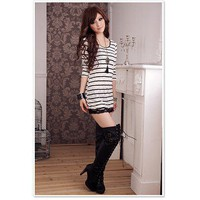 Sexy Stripe Pattern Lace Border Long Sleeve knitwear Slim Dress Black-Wholesale Women Fashion From Icanfashion.com