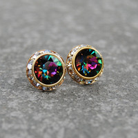 Rainbow Swarovski Crystal Stud Earrings