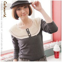 Leisure Fabric Lace Embellished Long Sleeve Top T-shirt Dark Grey-Wholesale Women Fashion From Icanfashion.com