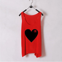 Heart Chanel  Women Tank Top  White  Sides by zzzAfternoon on Etsy