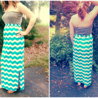 Long Maxi Dress - Summer Dress in Blue Chevron and Gray- Sleeveless/Strapless