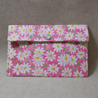 Pretty Fabric Pouch Made With Daisy Inspired Fabric