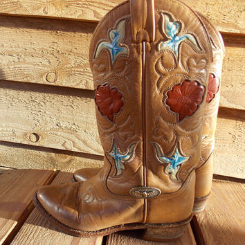 Vintage Hand Painted Texas Western Red, White, and Blue Cowboy Boots - Size 7 M - Longhorn - Roses -Flowers