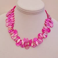 Pink Double Strand Statement Necklace, Unique Jewelry, Fashion Accessory, Various Size Pink Beads, Natural Beads Necklace,