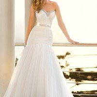 Buy Glamorous Tulle & Satin Mermaid Sweetheart Neckline Wedding Dress For Your Beach Wedding