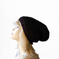 Super Slouchy Black Beanie Hat Crochet Black by crochetconcepts