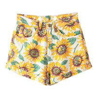 ROMWE Sunflower Print High-waist Denim Shorts