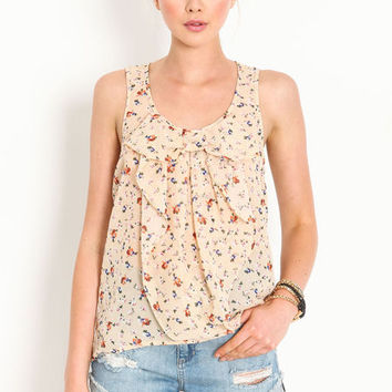 FLORAL SHEER RUFFLE TOP