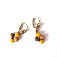 Mustard Yellow Brown Dangle Earrings, Beaded, Rhinestones, Long, Beads