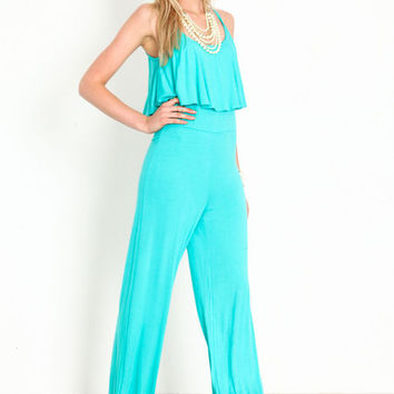 RUFFLE CAMI JERSEY JUMPSUIT