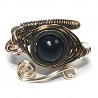 Egyptian Wire Ring - Eye of Horus - Black Onyx | PrimevalSands - Jewelry on ArtFire