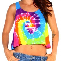 iHeartRaves Tie Dye Crop Top
