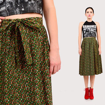 70s Calico Floral High Waist Hippie Festival Prairie / Bow Tie Waist Wrap Skirt Black Green Red XS S