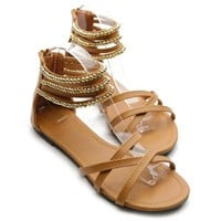Ollio Womens Shoes Gladiator Zipper Ankle Strap Multi Colored Studded Sandal