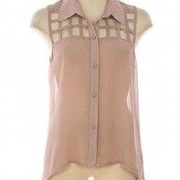 NET DETAILED BUTTON DOWN CHIFFON TOP-Dressy-Womens Dressy Tops,Dressy Top For Women,Fashion Dressy Tops,Trendy Dressy Tops,Promo Dressy Tops
