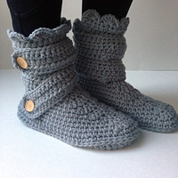 Women's Crochet Gray Slipper Boots, Crochet Slippers, Crochet Booties, Crochet House Shoes, Crochet Winter Boots, Grey Slipper Boots