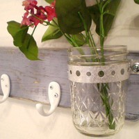 Distressed Wood Wall Hanger Mason Jar Hooks by midwesterntreasures