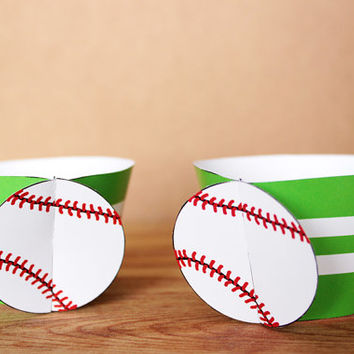 Printable 3D Baseball Sports Party Cupcake Wrapper Set with a red and green stripe pattern INSTANT DOWNLOAD