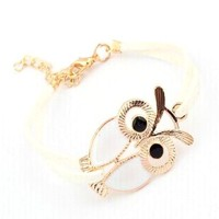 White and Gold Owl Wrap Bracelet