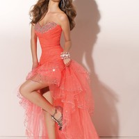 pictures of Beaded Sweetheart Neckline Organza Prom Dresses PDM114