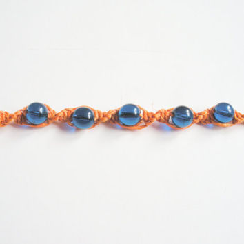 Orange Hemp Bracelet with Blue Glass Beads, ready to ship.