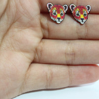90's Lisa Frank Inspired Leopard  :  Stud Earrings
