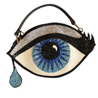 Blue Glitter Eye Clutch Handbag with Teardrop