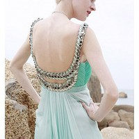 Buy In Stock Elegant Scoop Floor-length Prom Dress 80886
