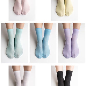 Women New Hezwagarcia 7 Colors Lot Basic Essential Pastel Package Colors Polyester Spandex Socks Stocking Hosiery