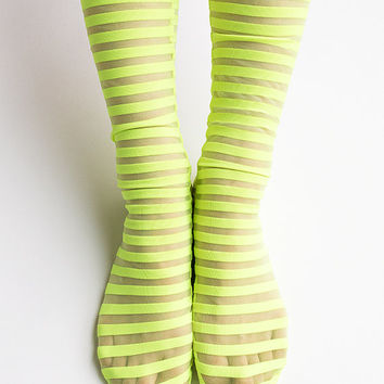 Women New Hezwagarcia See Through Mega Sheer Neon Yellow Black Stripe Pattern Polyester Spandex Socks Hosiery