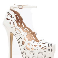 White Abstract Cut Out Platform Pumps @ Cicihot Heel Shoes online store sales:Stiletto Heel Shoes,High Heel Pumps,Womens High Heel Shoes,Prom Shoes,Summer Shoes,Spring Shoes,Spool Heel,Womens Dress Shoes