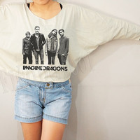 Imagine Dragons Shirts American Alternative Rock Shirts Bat Sleeve Shirt Crop Tee Long Sleeve Oversized Sweatshirt Women TShirt - FREE SIZE
