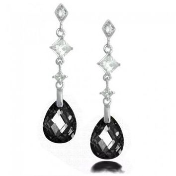 Bling Jewelry 925 Sterling Silver Faceted Black Onyx Color Teardrop Earrings | Bling Jewelry