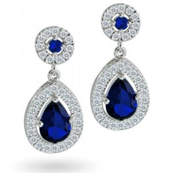 Bling Jewelry Crown CZ Sapphire Color Teardrop Dangle Earrings | Bling Jewelry