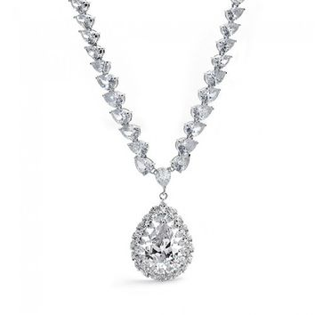 Bling Jewelry Cubic Zirconia Teardrop Pear Vintage Style Necklace | Bling Jewelry