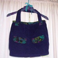Big Blue Corduroy Weekender Tote Bag Floral Teal Green Blue Purple