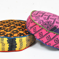 2 x Patchwork floor cushion covers - Indian Kantha Quilt fabrics