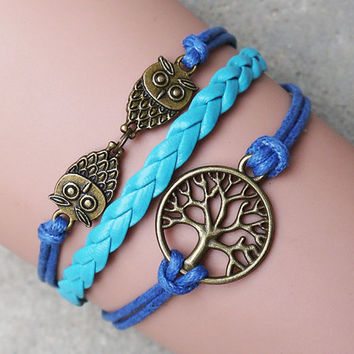 Owl Bracelet,Tree of Life  bracelets,Imitation leather bracelet , friendship gifts, Christmas gifts